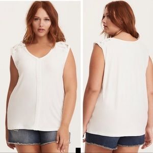 Torrid Soft Rope Trim Dolman Tank Top White 5X